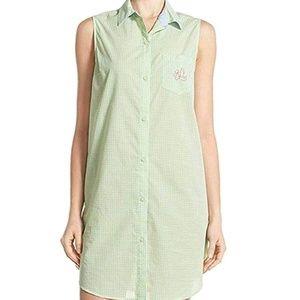 Ralph Lauren green gingham sleep shirt. NWT SZ. M